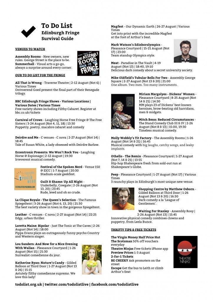 Edinburgh Fringe To Do List - Free 1 Page PDF Guide 1