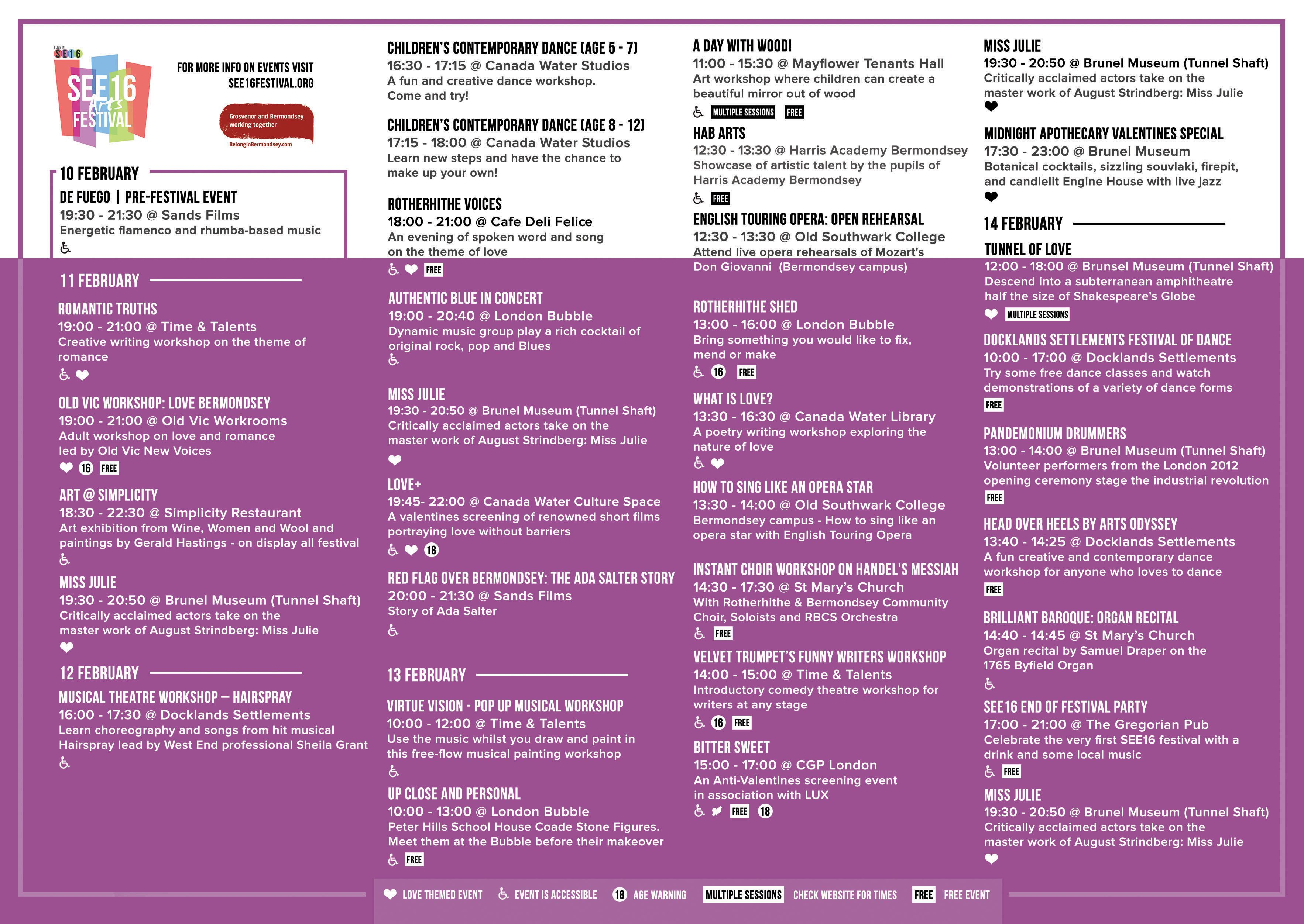 SEE16 Arts Festival Programme