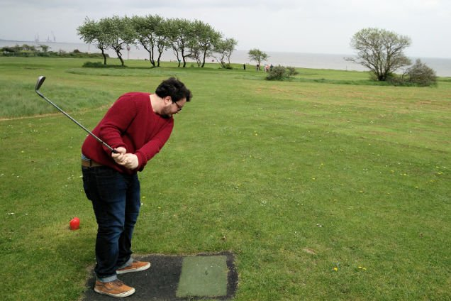 Stuart Playing Pitch and Putt at Potters Resort