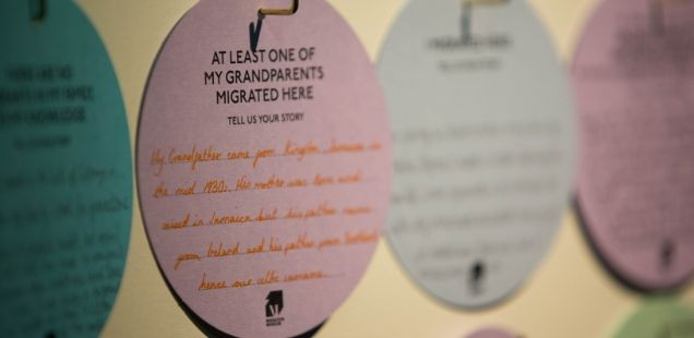 Migration story discs filled in by visitors © Migration Museum